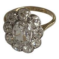 Edwardian 2.5ct Diamond Cluster Ring