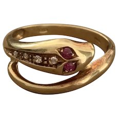 Ruby and Diamond 18 Karat Gold Serpent Ring
