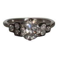 Platinum Diamond Art Deco Engagement Ring