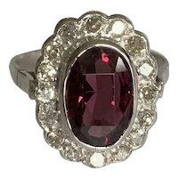 Spinel and Diamond Platinum Princess Diana Style Ring