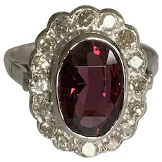 Spinel and Diamond Platinum Princess Diana Style Ring