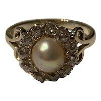 Rose Cut Diamond Antique Pearl Ring