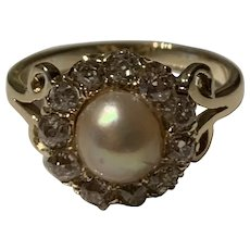 Rose Cut Diamond Antique Pearl Ring