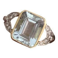 Aquamarine and Diamond 18K Gold  Ring