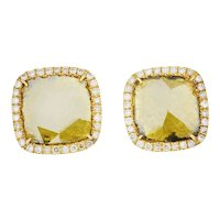 Yellow Diamond Slice 18 Karat Gold Earrings
