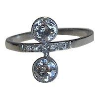 Antique Diamond Moi et Toi Ring