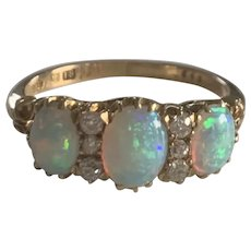 Opal and Diamond Victorian Ring