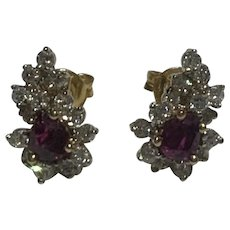 Natural Ruby and Diamond Earrings