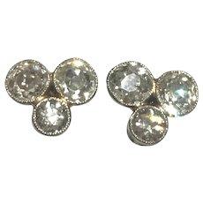 Old European Cut Diamond Gold Earrings