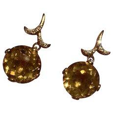 18k Gold Diamond and Citrine Earrings