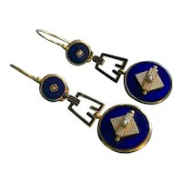 Art Deco Enamel and Gold 9k Earrings