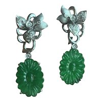 18 Karat Jade and Diamond Earrings