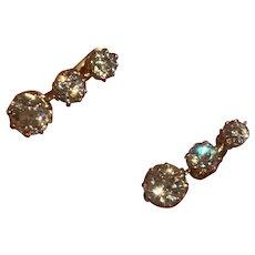 1ct Old European Cut Diamond Gold Earrings