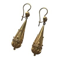 Etruscan Revival 9 Karat Gold Earrings