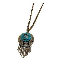 Victorian Gold and Turquoise and Diamond Locket
