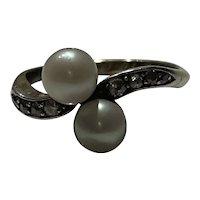 Antique Diamond and Pearl 18 Karat Gold Ring
