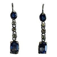 Sapphire and Diamond Platinum Earrings