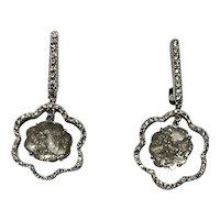 18k Gold Diamond Rose Cut Slice Earrings
