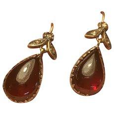 Garnet and Diamond Gold Earrings