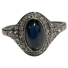 Cabochon Sapphire and Diamond 18 Karat Gold Art Deco Ring