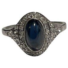Cabochon Sapphire and Diamond 18 Karat Gold Art Deco Ring