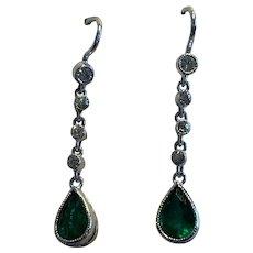 Pear Shaped Emerald and Diamond Old European Cut Earrings