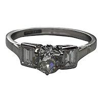 Art Deco 1.3ct Diamond Platinum Ring