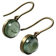 Emerald 7.45ct 18k Yellow Gold Earrings