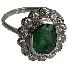 Emerald and Diamond Daisy Head Cluster Ring