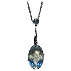 An Art Deco Period Aquamarine and Diamond Pendant