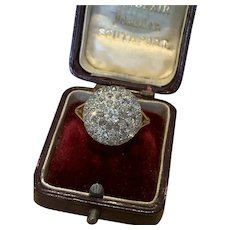 Diamond Old Cut and Rose Cut Victorian Bombe Ring
