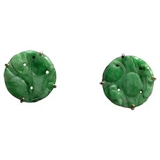 Natural Jadeite 1930s 9k Gold Earrings