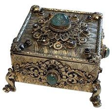 A 19th Century Emerald Encrusted Trinket Box