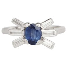 Art Deco Sapphire and Diamond Bow Ring