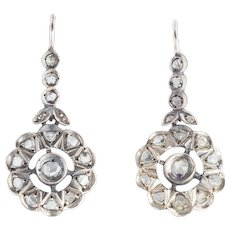 Rose Cut Diamond Edwardian Earrings
