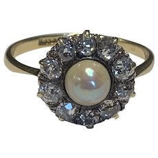 Old Cut Diamond and Pearl Edwardian Ring