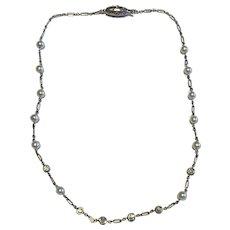 Platinum Pearl and Diamond Art Deco Necklace