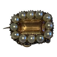 Imperial Topaz and Split Pearl Georgian Brooch