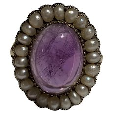 A Natural Pearl And Amethyst Cabochon Antique Ring
