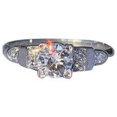 Art Deco Platinum and 0.5ct Diamond Ring