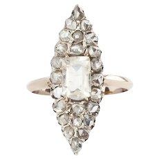 Rose Cut Diamond Victorian Marquise Ring