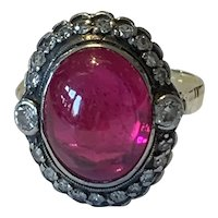 Antique Diamond And Synthetic Ruby Antique Ring
