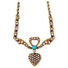 Antique 15ct Gold Edwardian Turquoise and Pearl Heart Necklace