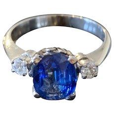 Cornflower Blue Sapphire and Diamond Platinum Ring