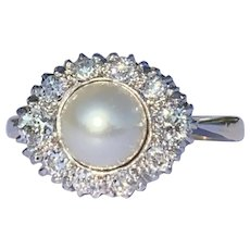 Early Twentieth Century Diamond and Pearl 18 Karat Gold Ring