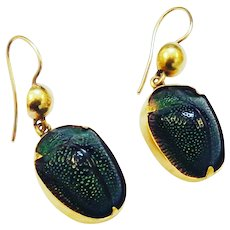 Victorian 18K Gold Scarab Beetle Earrings