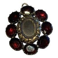 Flat Garnet Georgian Gold Pendant