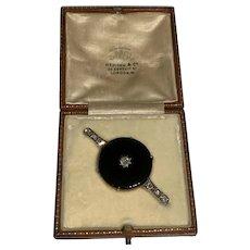Onyx and Diamond Art Deco Brooch