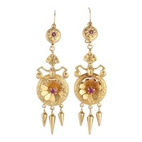 Victorian Etruscan Revival Ruby 14k Gold Earrings