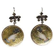 Diamond and Enamel 19th Century Figa/Hand Earrings